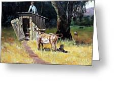 Cowboy On The Outhouse  Greeting Card