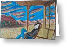 Cowboy Sitting In Chair At Sundown Greeting Card