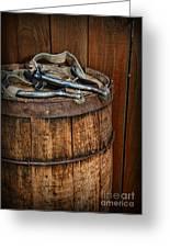 Cowboy Spurs On Wooden Barrel Greeting Card