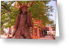 Cowboy Statue In Front Of The Brown Palace Hotel In Denver Greeting Card