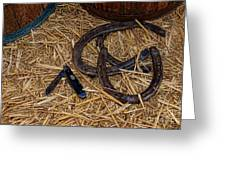 Cowboy Theme - Horseshoes And Whittling Knife Greeting Card by Paul Ward