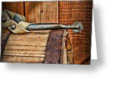 Cowboy Themed Wood Barrel And Spur Greeting Card by Paul Ward