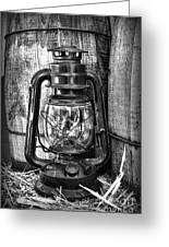 Cowboy Themed Wood Barrels And Lantern In Black And White Greeting Card