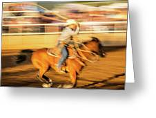 Cowboys Ride And Rope Cattle During San Greeting Card