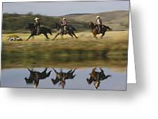 Cowboys Riding With Dogs Oregon Greeting Card