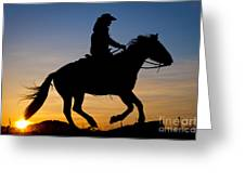 Cowgirl At Sunrise Greeting Card