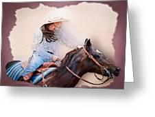 Cowgirl Barrel Racing 2 Greeting Card