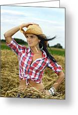 Cowgirl Holding Hat Vertical Greeting Card