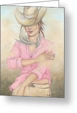 Cowgirl Greeting Card by Judith Grzimek