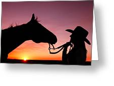 Cowgirl Sunset Greeting Card