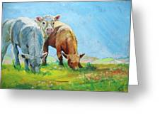 Cows Landscape Greeting Card