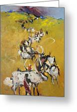 Cows Greeting Card by Negoud Dahab