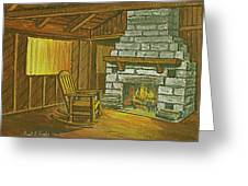 Cozy Fireplace At Lake Hope Ohio Greeting Card