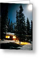 Cozy Log Cabin At Moon-lit Winter Night Greeting Card