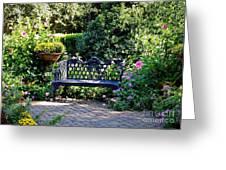 Cozy Southern Garden Bench Greeting Card by Carol Groenen