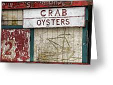 Crab And Oysters Greeting Card