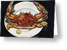Crab  On Plate Greeting Card