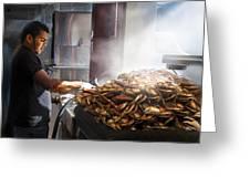 Crab Seller At Fisherman's Wharf  Greeting Card by Dorothy Walker