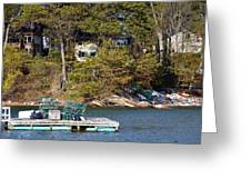 Crab Traps On Boat Near Shore Portland Greeting Card
