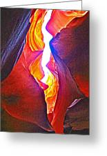 Crack Between Two Worlds In Lower Antelope Canyon In Lake Powell Navajo Tribal Park-arizona Greeting Card