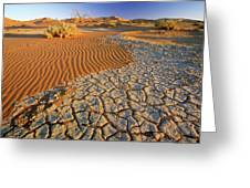 Cracking Dirt And Dunes Namib Desert Greeting Card