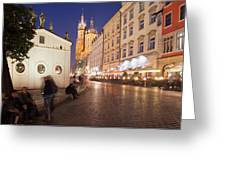 Cracow By Night In Poland Greeting Card