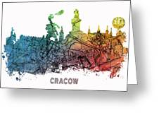 Cracow City Skyline Map Greeting Card