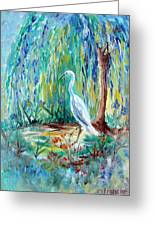 Crane And Willow Greeting Card