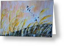 Crane On Reed Marshes Greeting Card