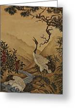 Cranes Beside A River With A Plum Tree Greeting Card