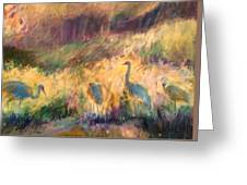 Cranes In The Grain Greeting Card