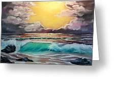 Crashing Wave At Sunrise Greeting Card