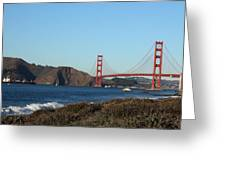 Crashing Waves And The Golden Gate Bridge Greeting Card by Linda Woods