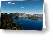 Crater Lake And Boat Greeting Card