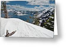 Crater Lake And Wizard Island In June Greeting Card