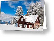 Crater Lake Home - Crater Lake Covered In Snow In The Winter. Greeting Card