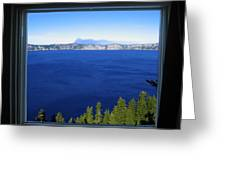 Crater Lake Through Our Window Greeting Card