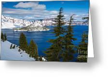 Crater Lake Winter Panorama Greeting Card
