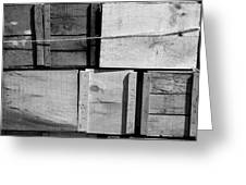 Crates At The Orchard 2 Bw Greeting Card
