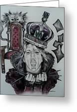 Crazy Carla Queen Of Charcoal Land Greeting Card