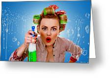 Crazy Girl Cleaning Greeting Card
