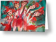 Crazy Joker Showgirls Greeting Card