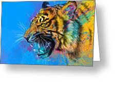 Crazy Tiger Greeting Card by Olga Shvartsur