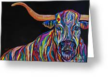 Crazy Woman Bull Greeting Card