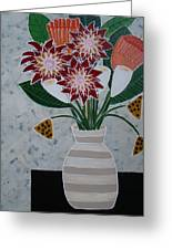 Cream Striped Vase Greeting Card