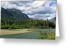 Creek Along Mountains, Mcdonald Creek Greeting Card
