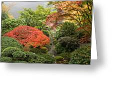 Creek At Japanese Garden In The Fall Greeting Card