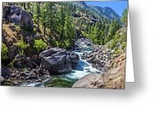 Creek Flowing Through Rocks, Icicle Greeting Card