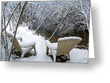 Creekside Chairs In The Snow 2 Greeting Card