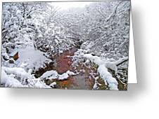 Creekside In The Snow 3 Greeting Card